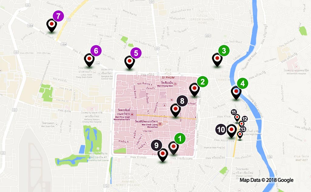 Map of Markets in Chiang Mai.