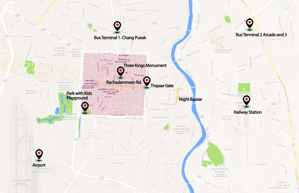 Map of Chiang Mai.
