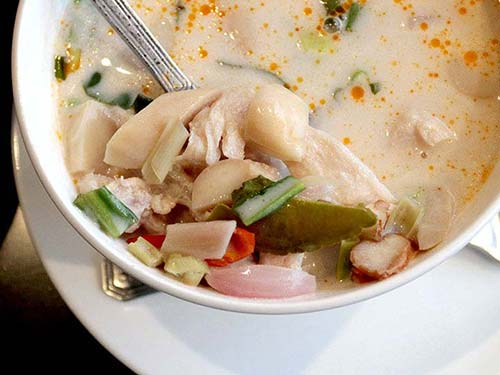 Chicken soup with coconut milk Tom Ka Gai.