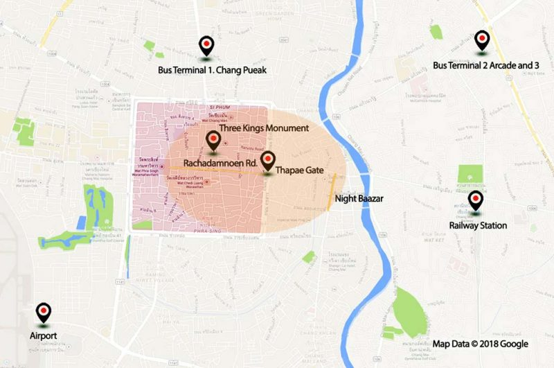 Map of Chiang Mai downtown