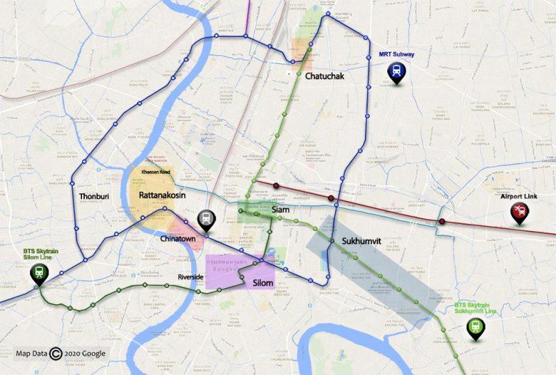 Áreas turísticas. Nota: La división de distritos se ha simplificado para facilitar la orientación